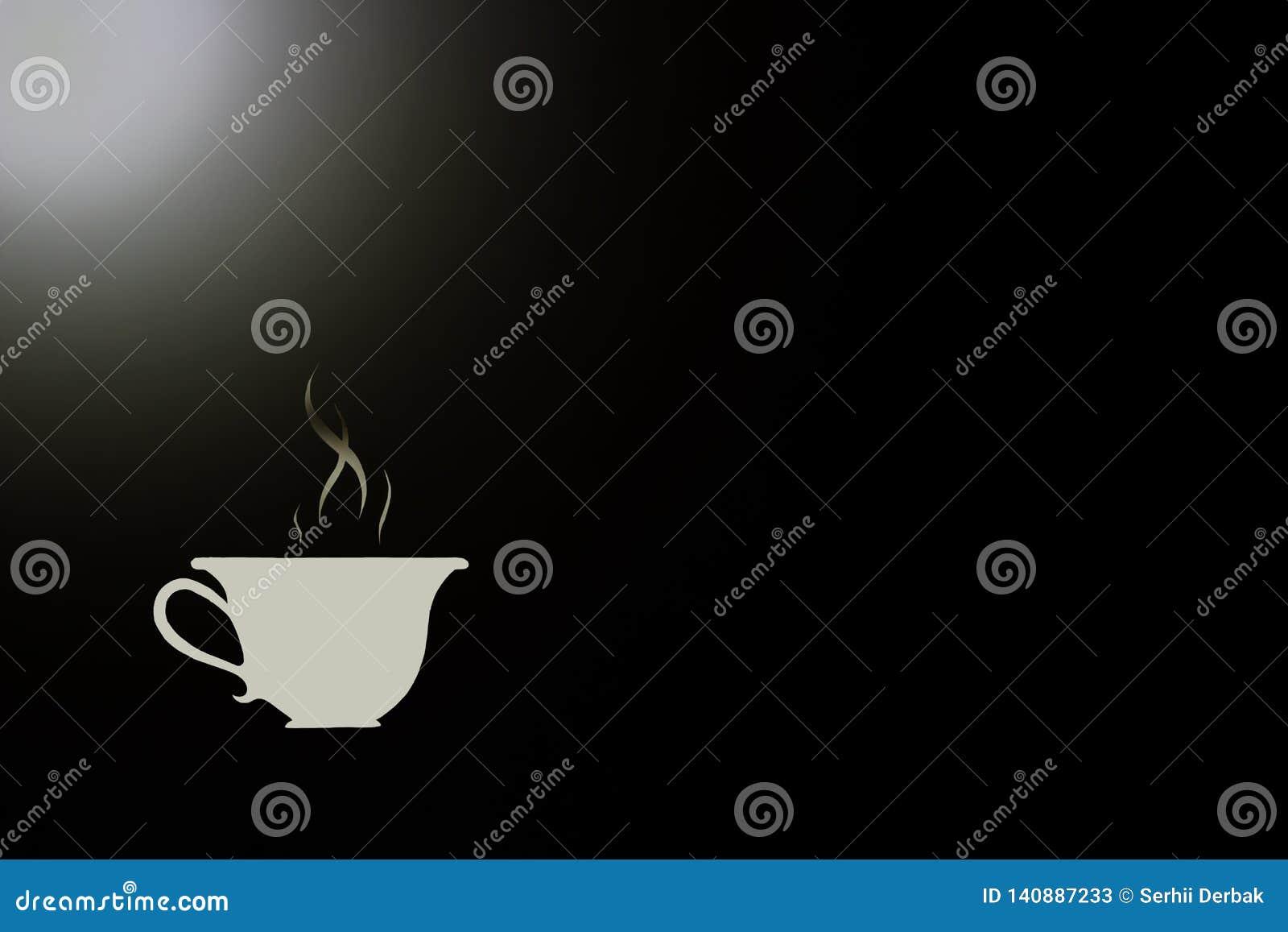 Symbool van hete koffie in een witte kop op een zwarte achtergrond en een wit hoogtepunt
