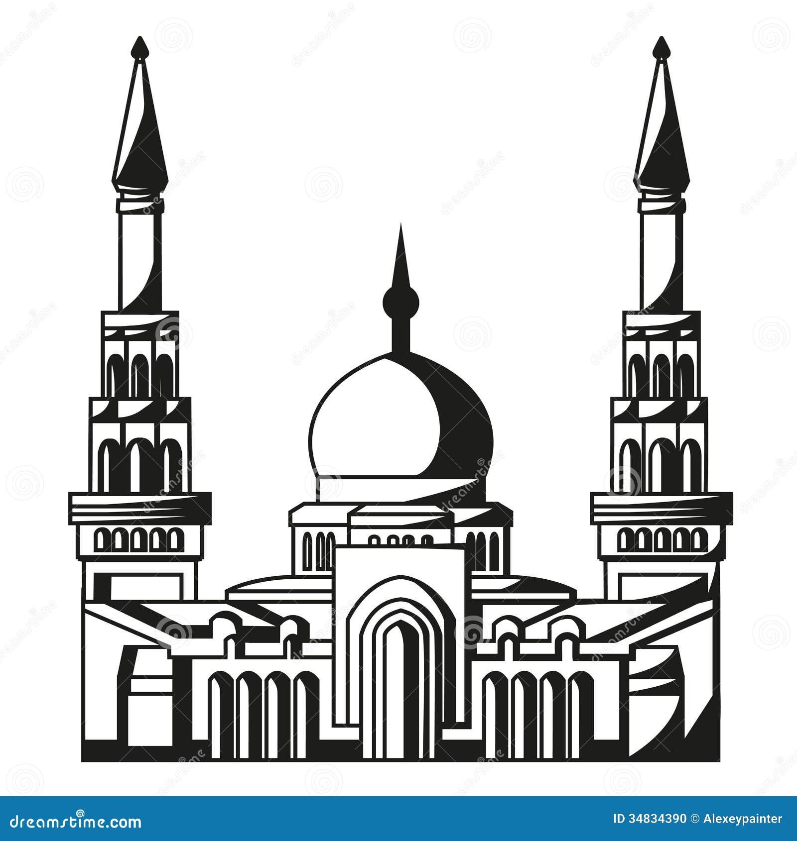 Symbool van Islam. Silhouet van Moskee. Ramadan.