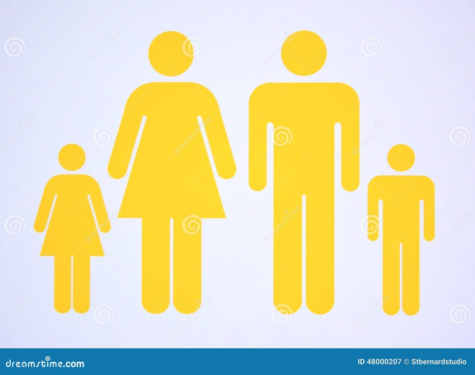 Symbool van kernfamilie bestaande zowel ouders als twee kinderen