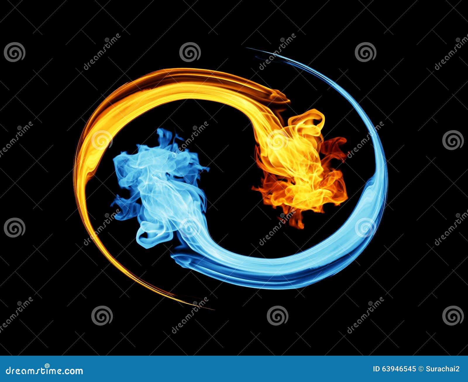 Symbool yin-Yang, ijs en brand