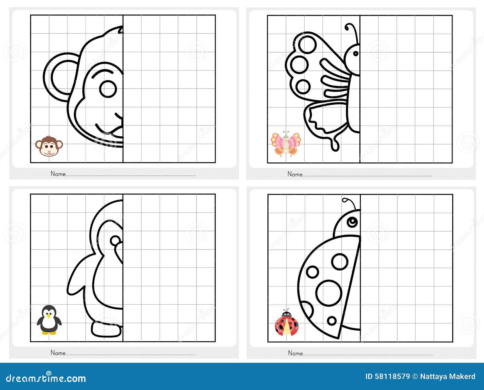 Symetryczny obrazek - Worksheet dla edukaci