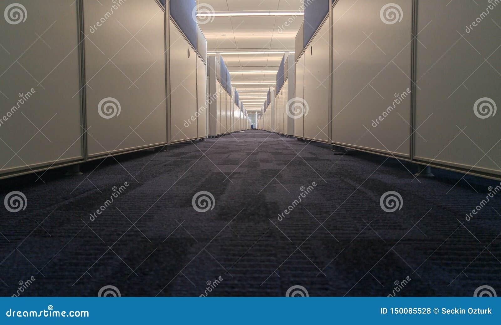 Symmetric biurowy wnętrze z długim korytarzem
