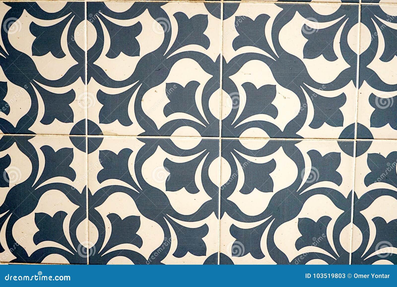 Symmetric Iconic Flower Patterns On Tiles Stock Image - Image of ...