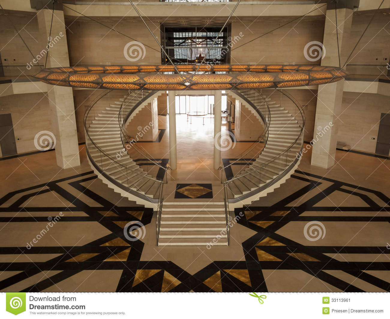 symmetric stairs of the museum of islamic art editorial