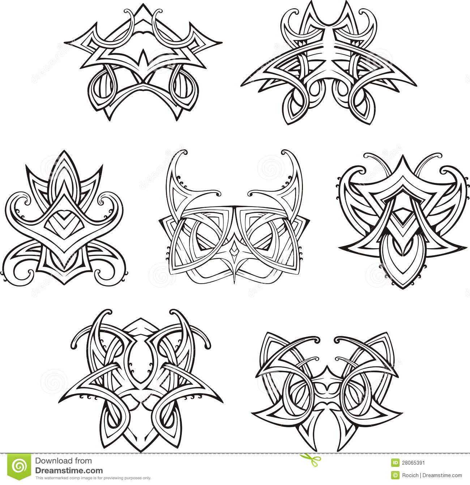 symmetric tribal knot tattoos stock image image 28065391. Black Bedroom Furniture Sets. Home Design Ideas