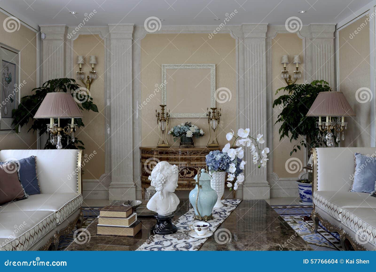 Symmetrical Room symmetrical arrangement of family living room stock photo - image