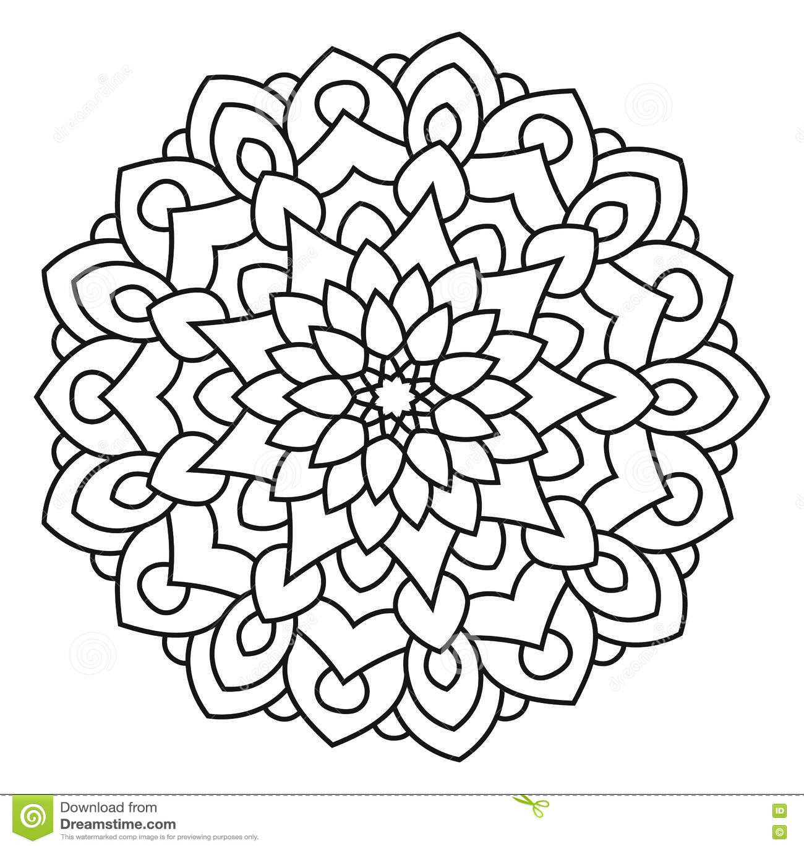 Symmetrical Circular Pattern Mandala. Stock Vector - Illustration of ...