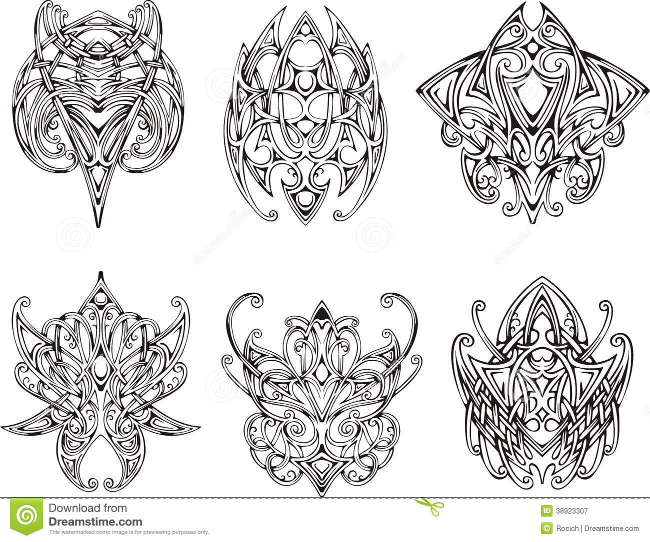 Symetrical Designs symmetrical knot tattoo designs stock illustration - image: 38923459