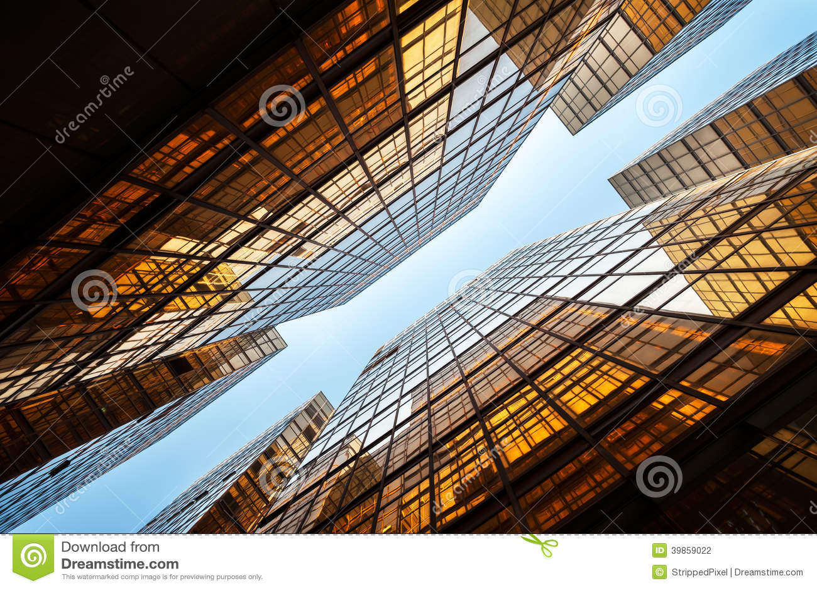 Symmetrical mirrored office buildings, Hong Kong