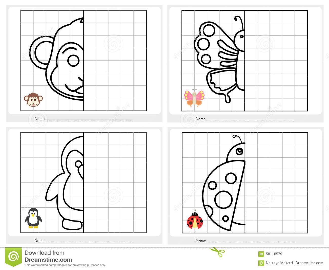 Symmetrical Picture Worksheet For Education Stock Vector