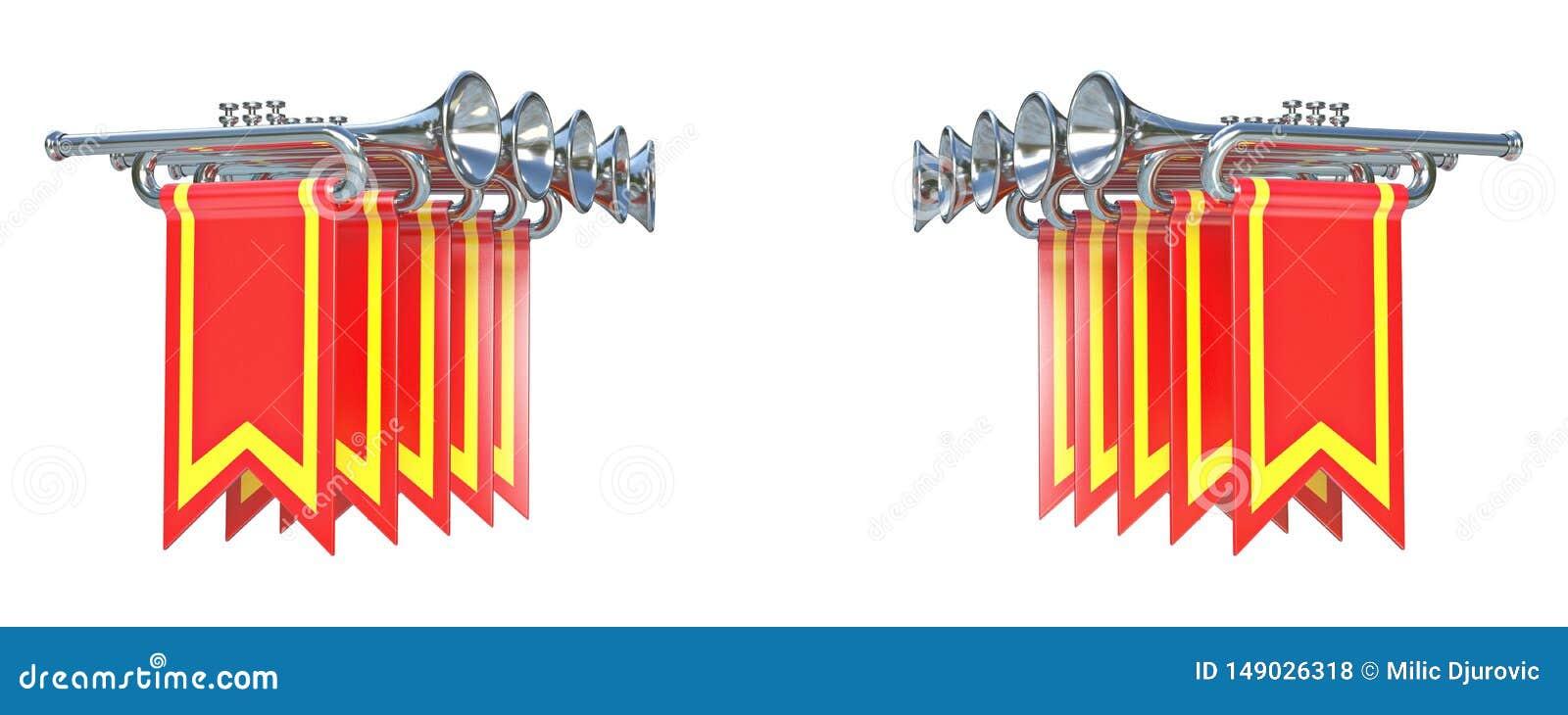 Symmetrisk fanfar tio försilvrar trumpeter och röda flaggor 3D