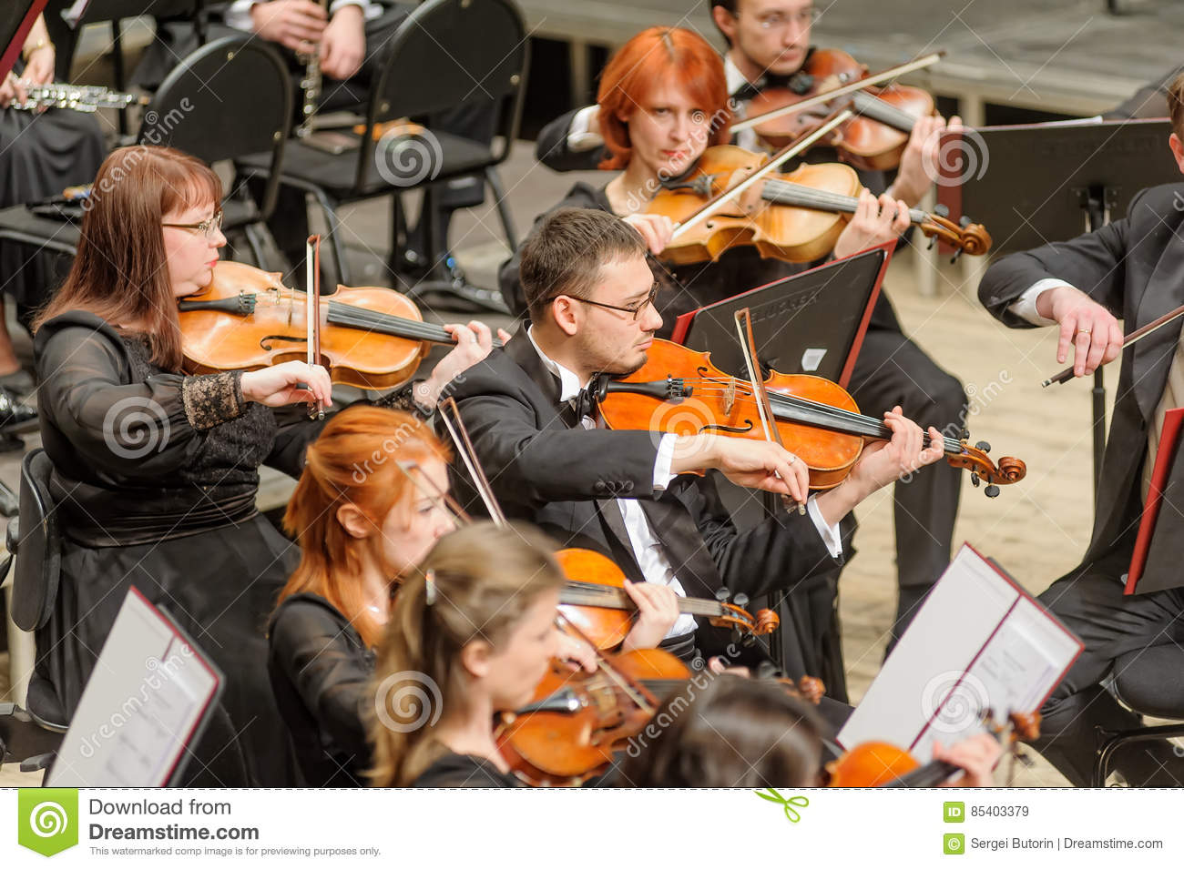 Symphony Orchestra On Stage  Violin Group Plays Editorial Stock
