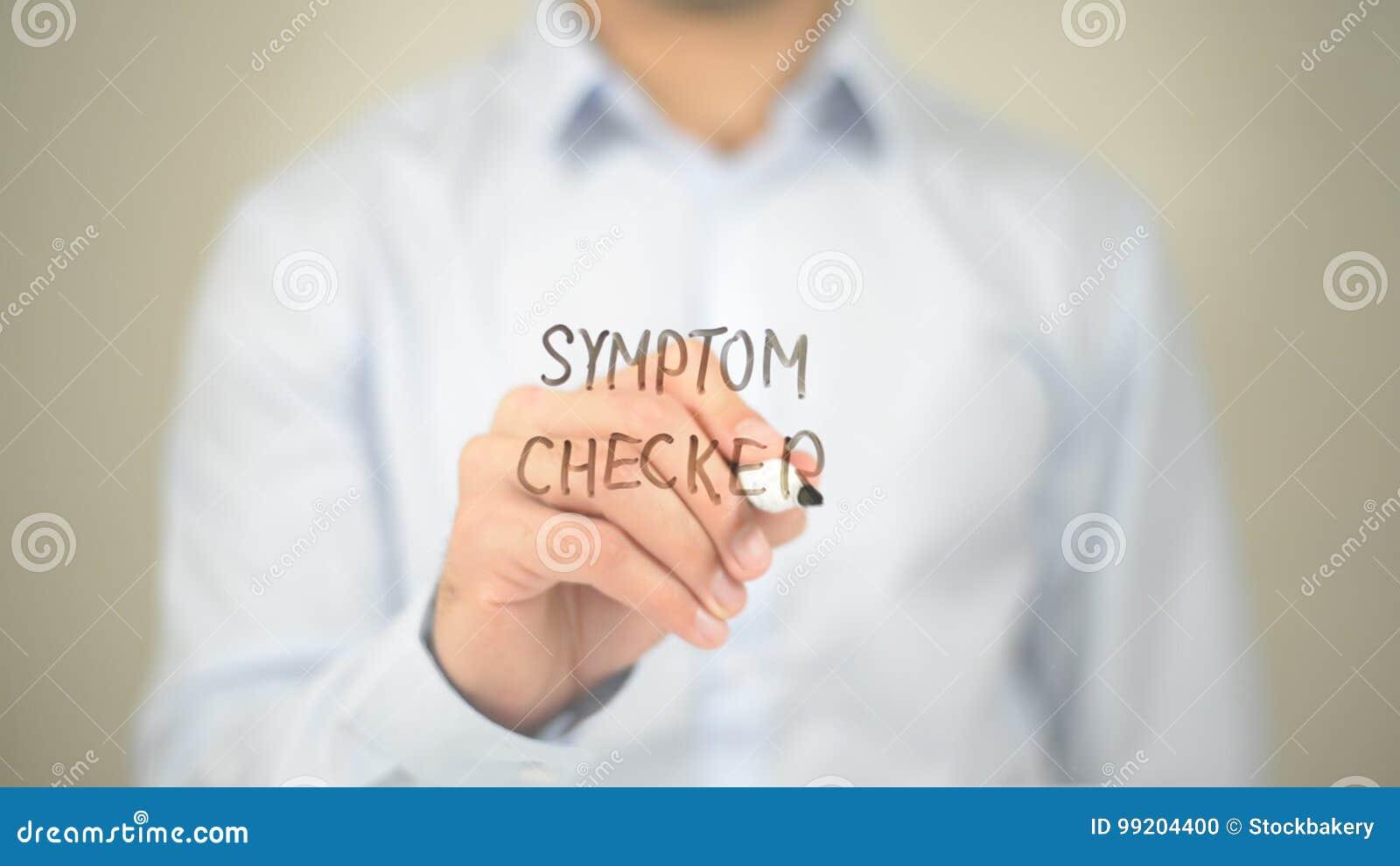 Symptom-Kontrolleur, Mann-Schreiben auf transparentem Schirm