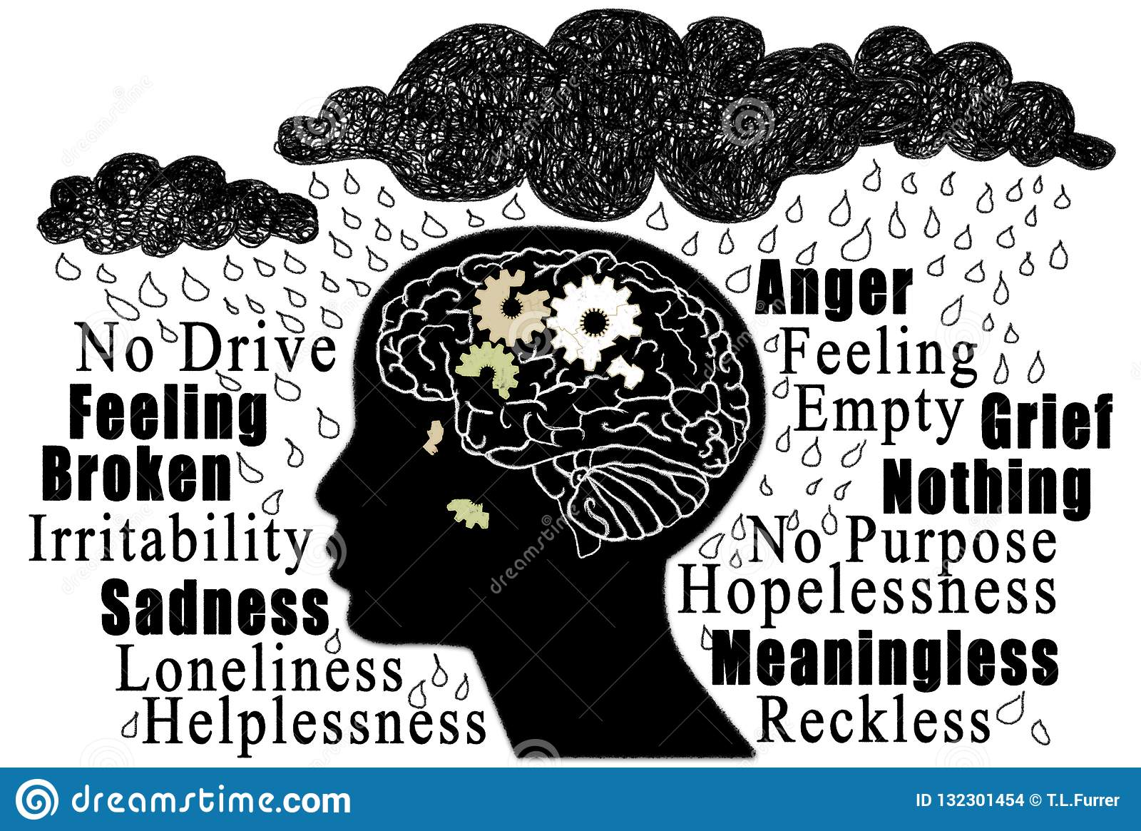 Symptoms And Feelings Of Depression Stock Illustration ...