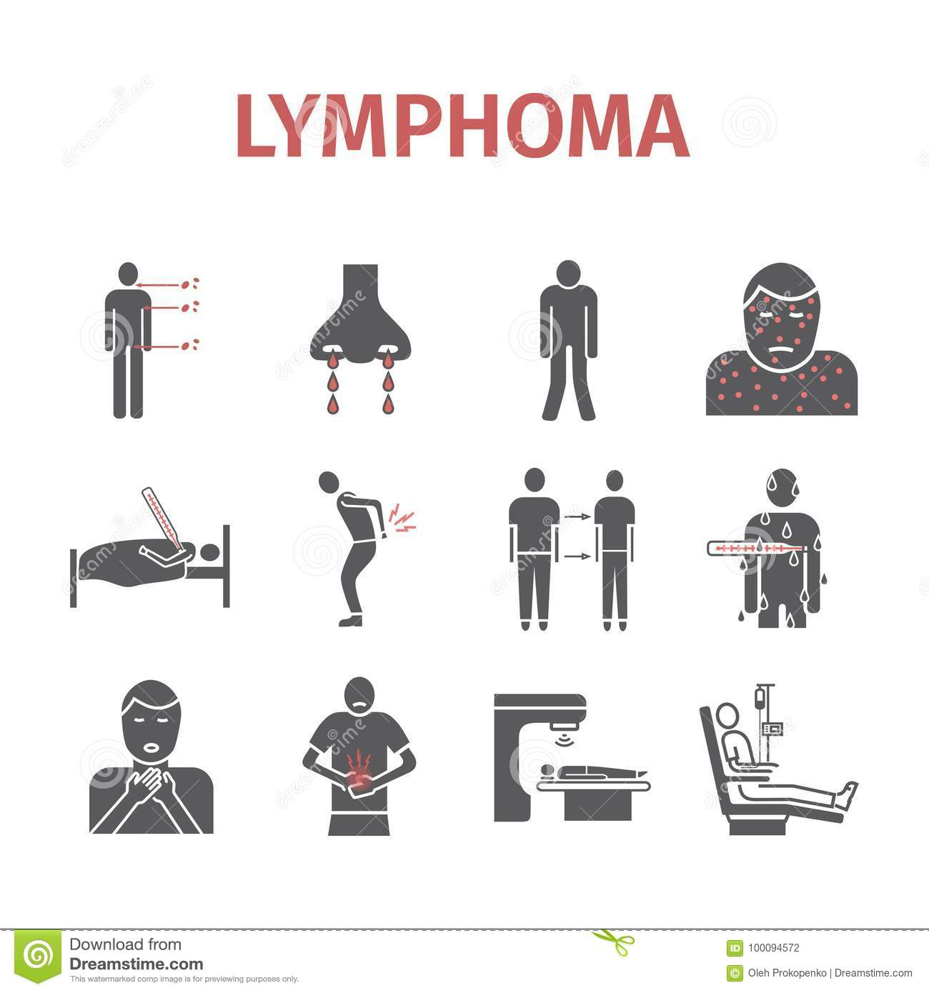 symptoms of lymphoma lymphatic cancer symptoms vector signs stock
