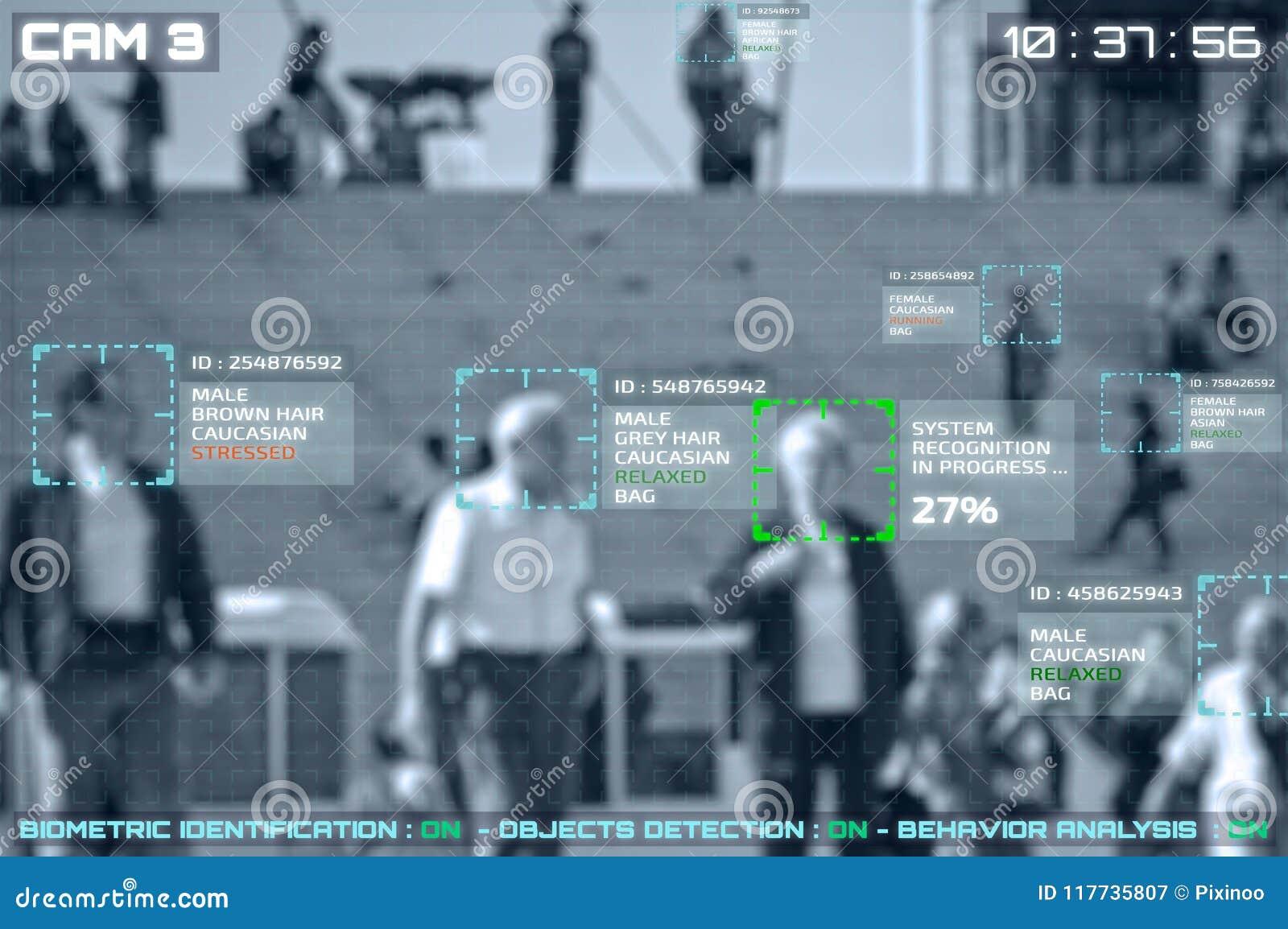 Symulacja ekran cctv kamery z twarzowym rozpoznaniem