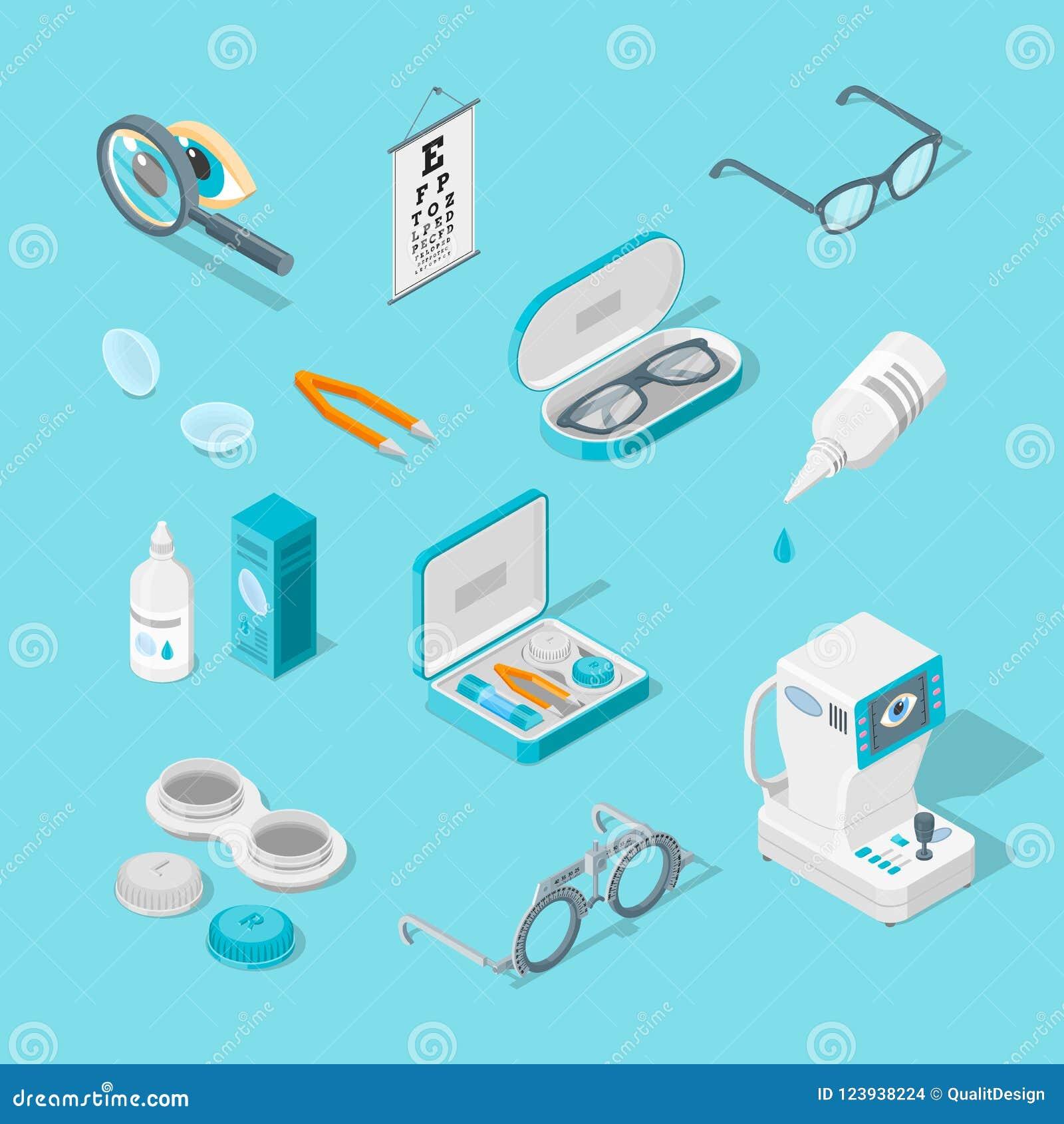 Syna omsorg, och hälsa, isometriska symboler för vektor 3d ställde in Kontaktlinser, exponeringsglas, oftalmologiutrustningillust