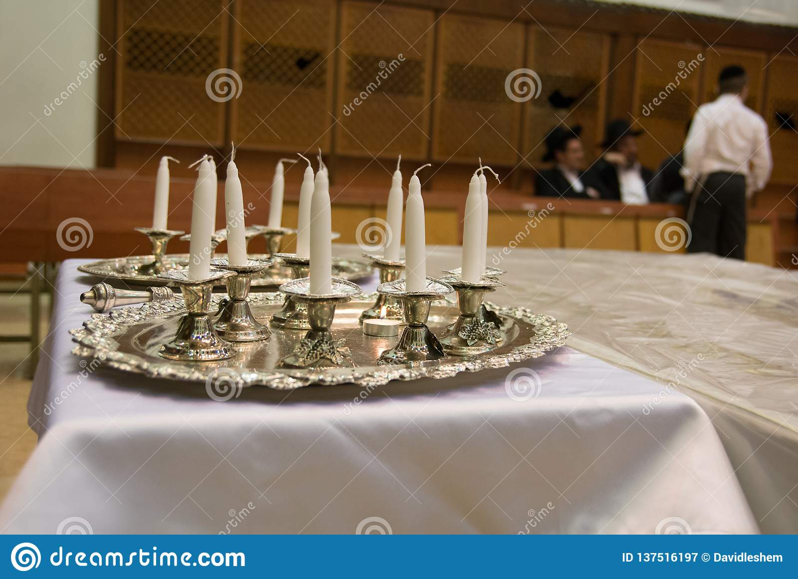 Synagogue and Hanukkah Candles Jewish Judaica