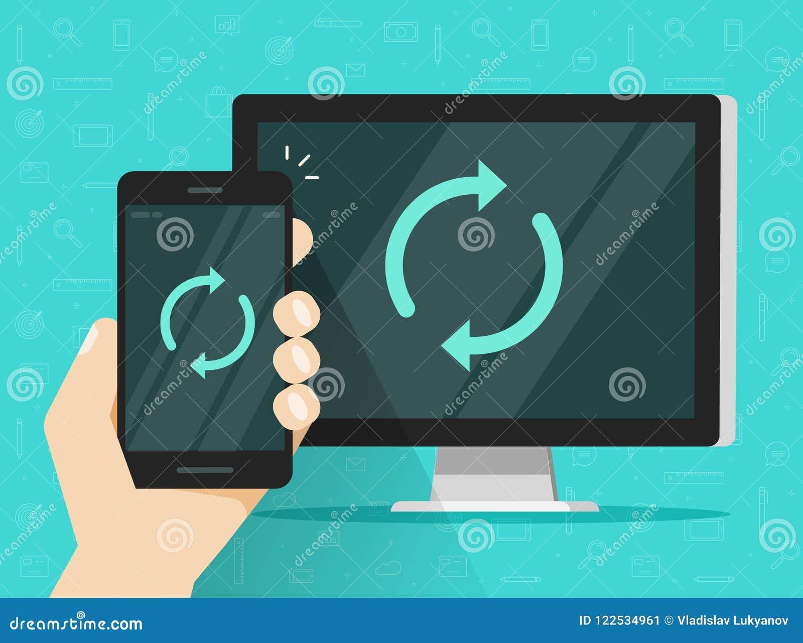 Synchronisatie van smartphone en computer vectorillustratie, vlakke beeldverhaal mobiele telefoon en PC met synchpictogram