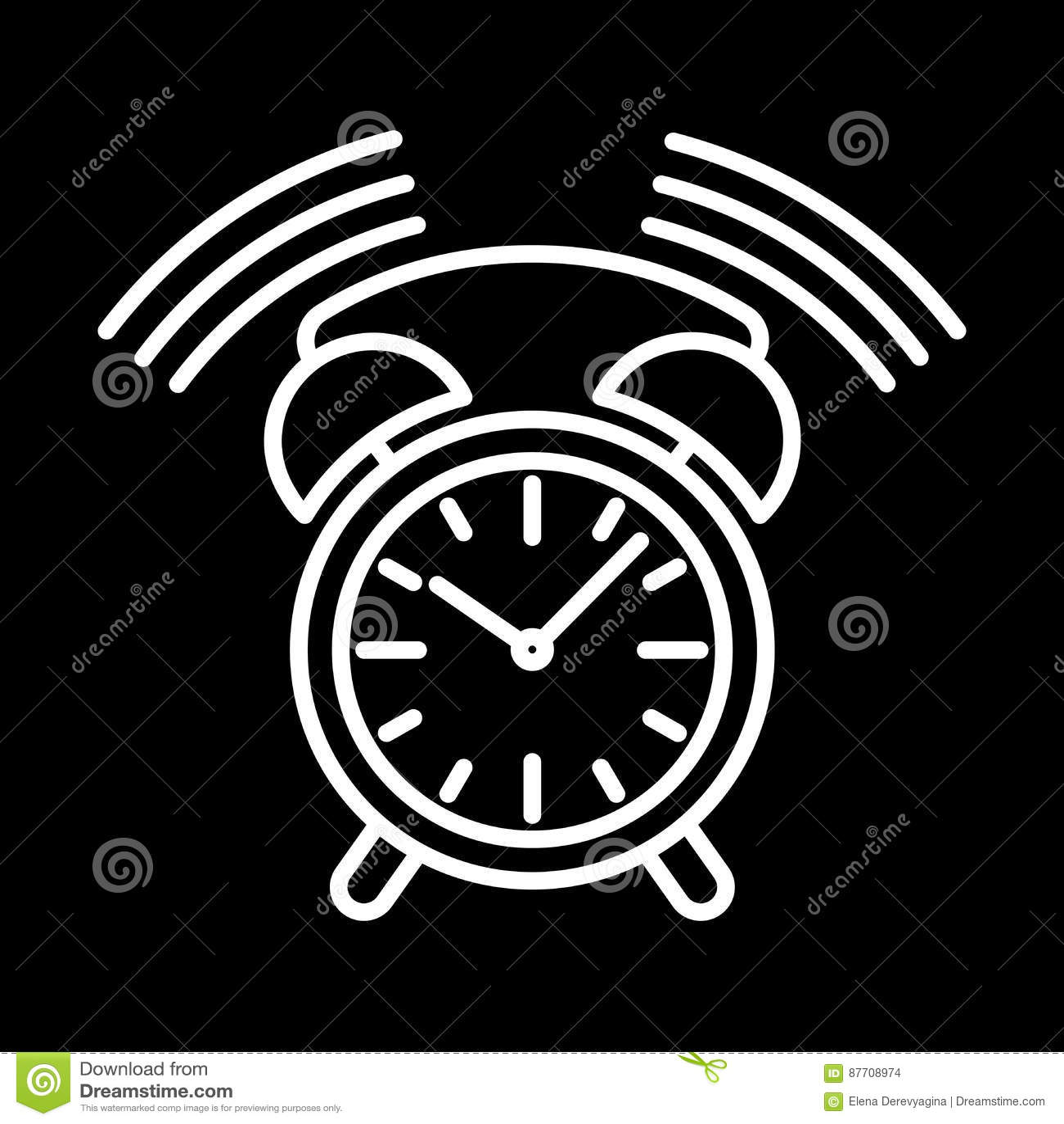 Synchronisez la découpe blanche de sonnerie d icône d alarme sur le fond noir de l illustration de vecteur