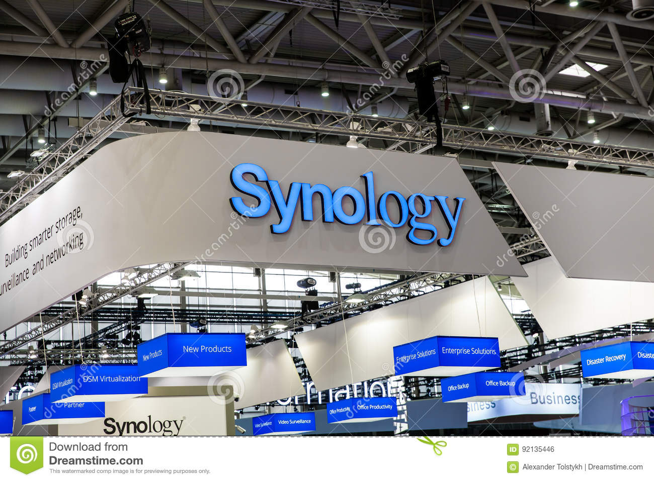 Synology Company Logo Sign On Exhibition Fair Cebit 2017 In