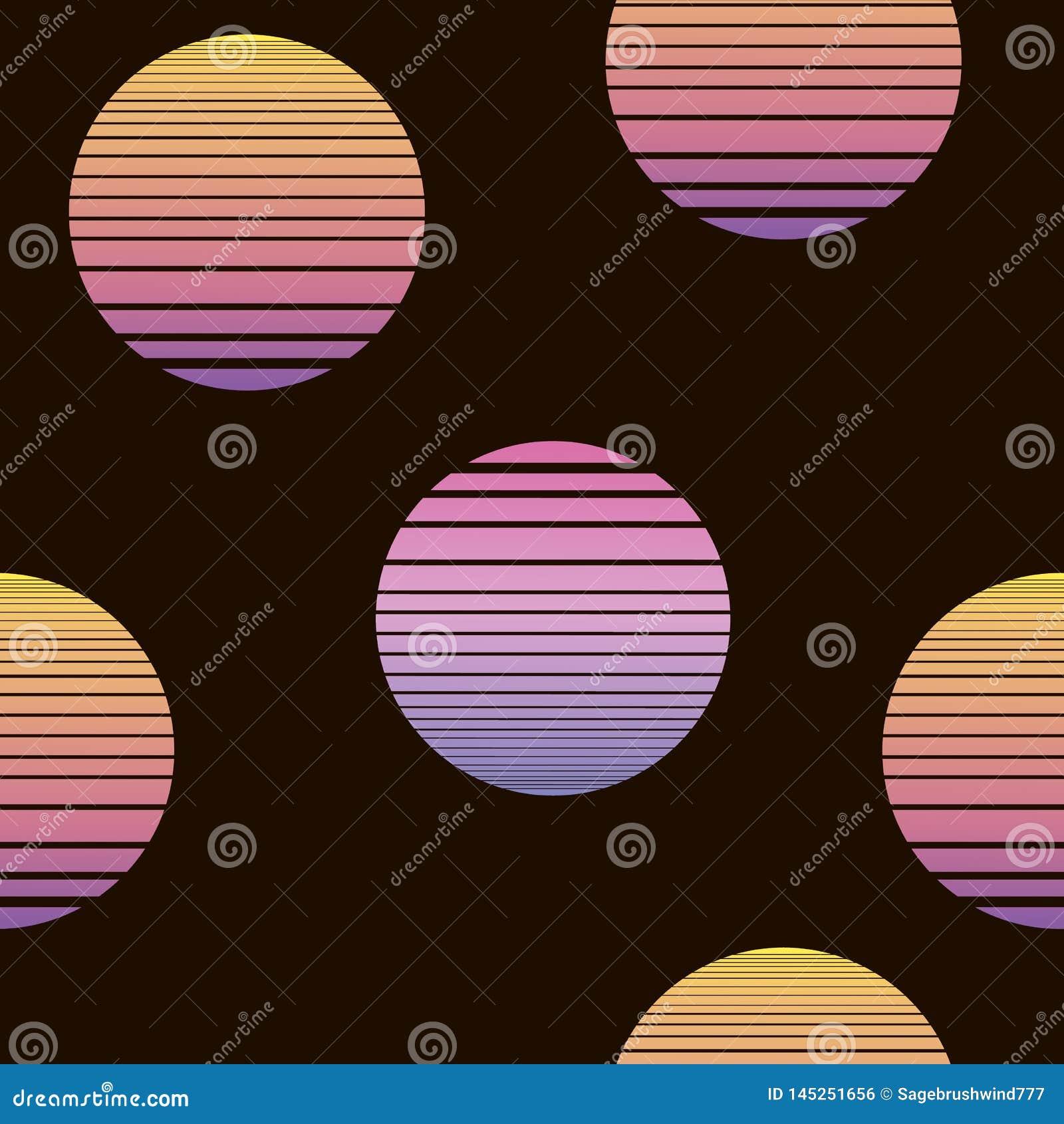 Synthwave bezszwowy wzór z słońcami w pomarańczowych kolorach