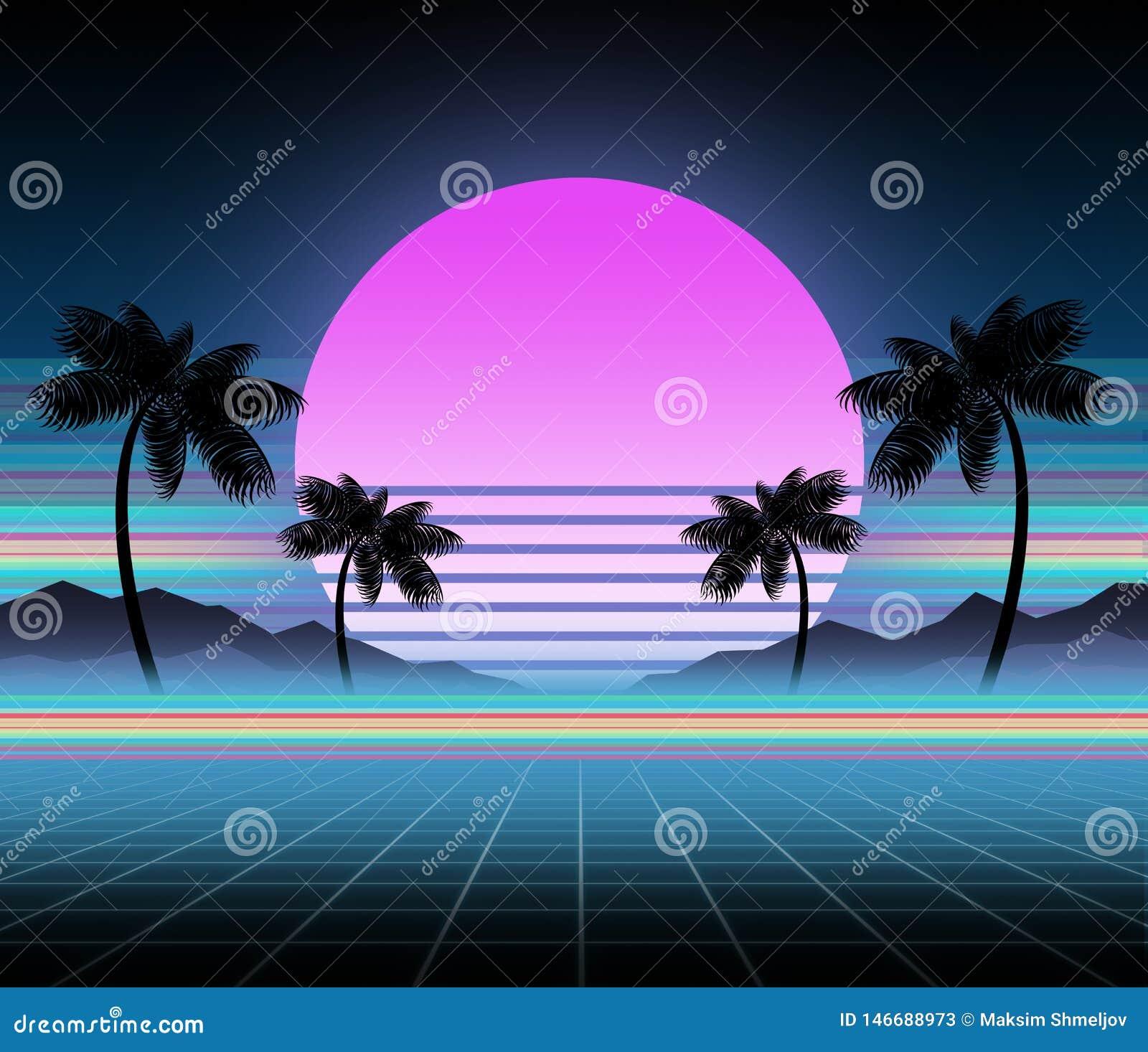 Synthwave en retrowave achtergrondmalplaatje Palmen, zon en ruimte in computerspel Retro ontwerp, ijlt muziek, de jaren  80