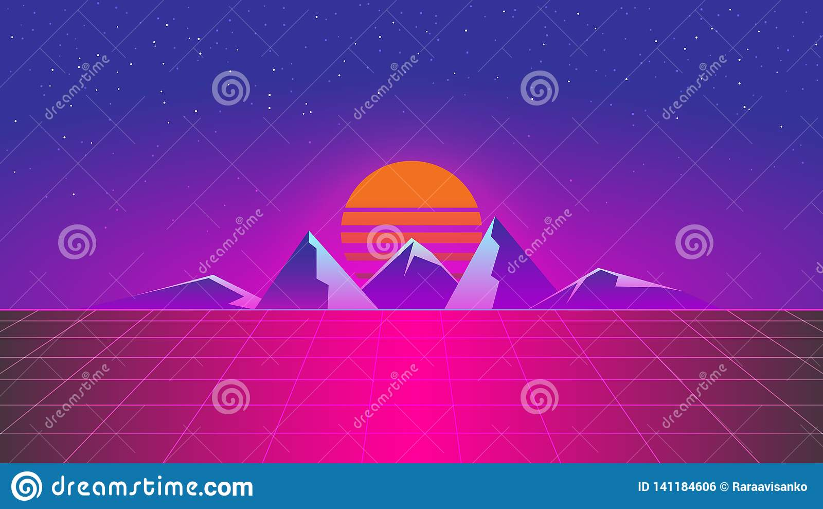 Synthwave Mountain Neon Colors Sunset Wallpaper Stock Vector