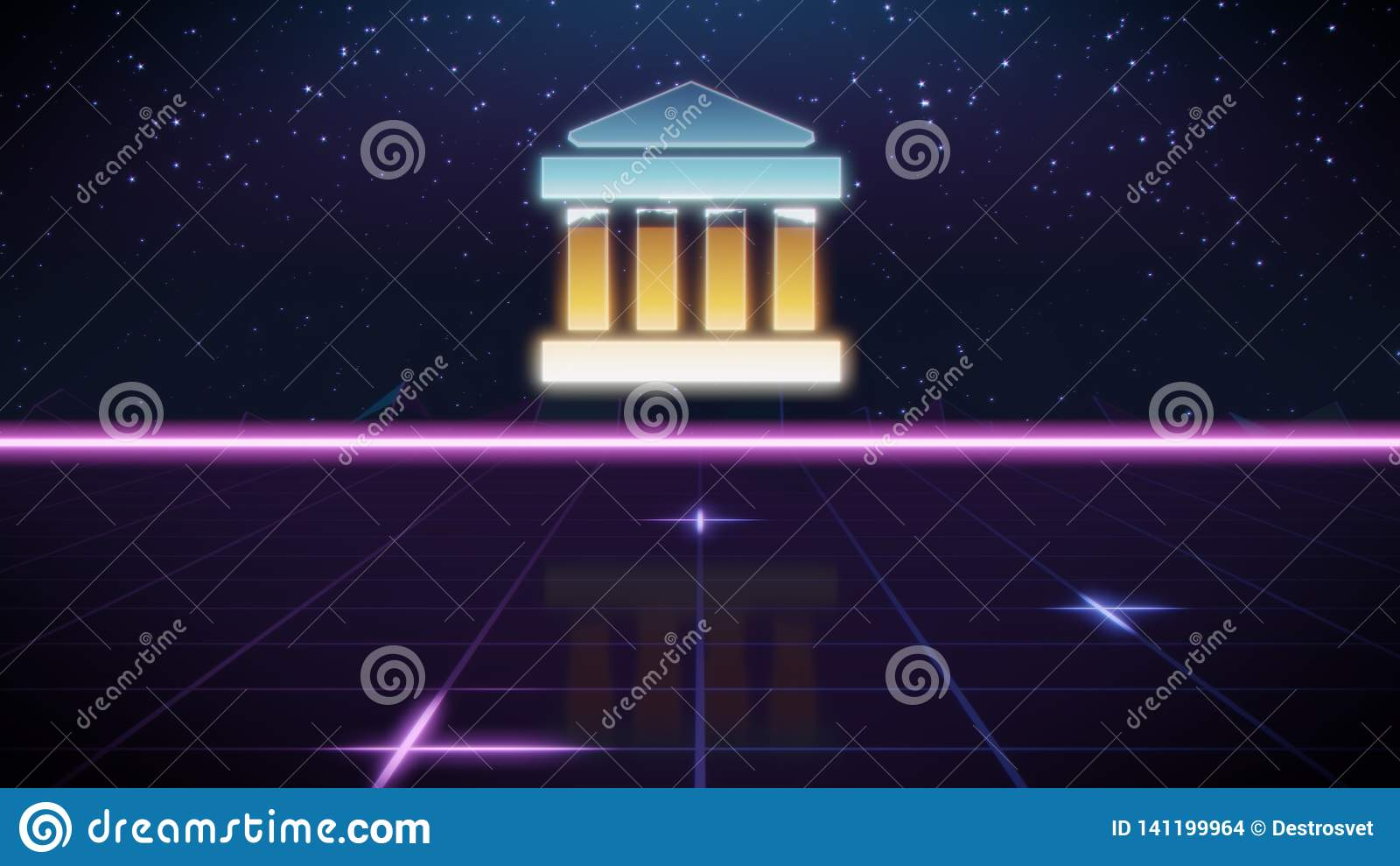 Retro Bank Design.Synthwave Retro Design Icon Of Bank Stock Illustration