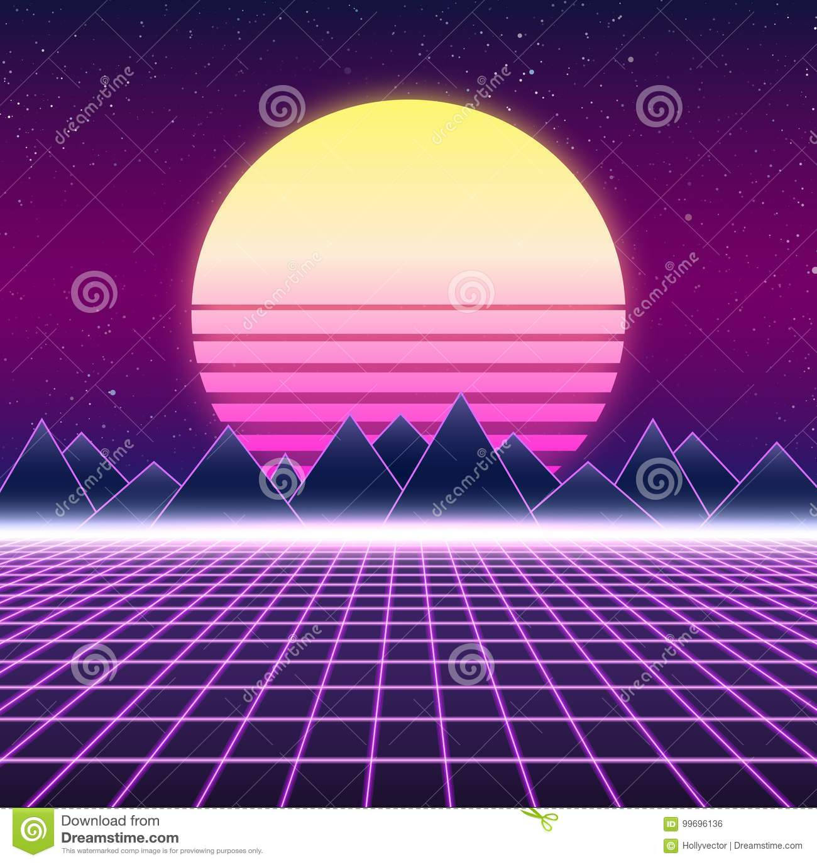 Synthwave retro ontwerp, bergen en zon, illustratie