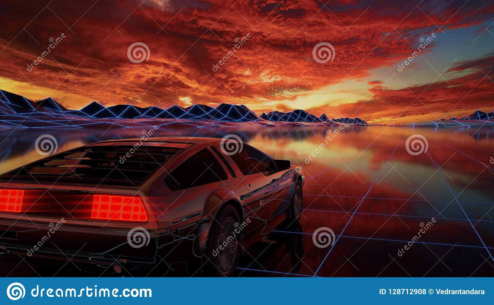 Synthwave ride stock photo  Image of synthwave, chromed - 128712908