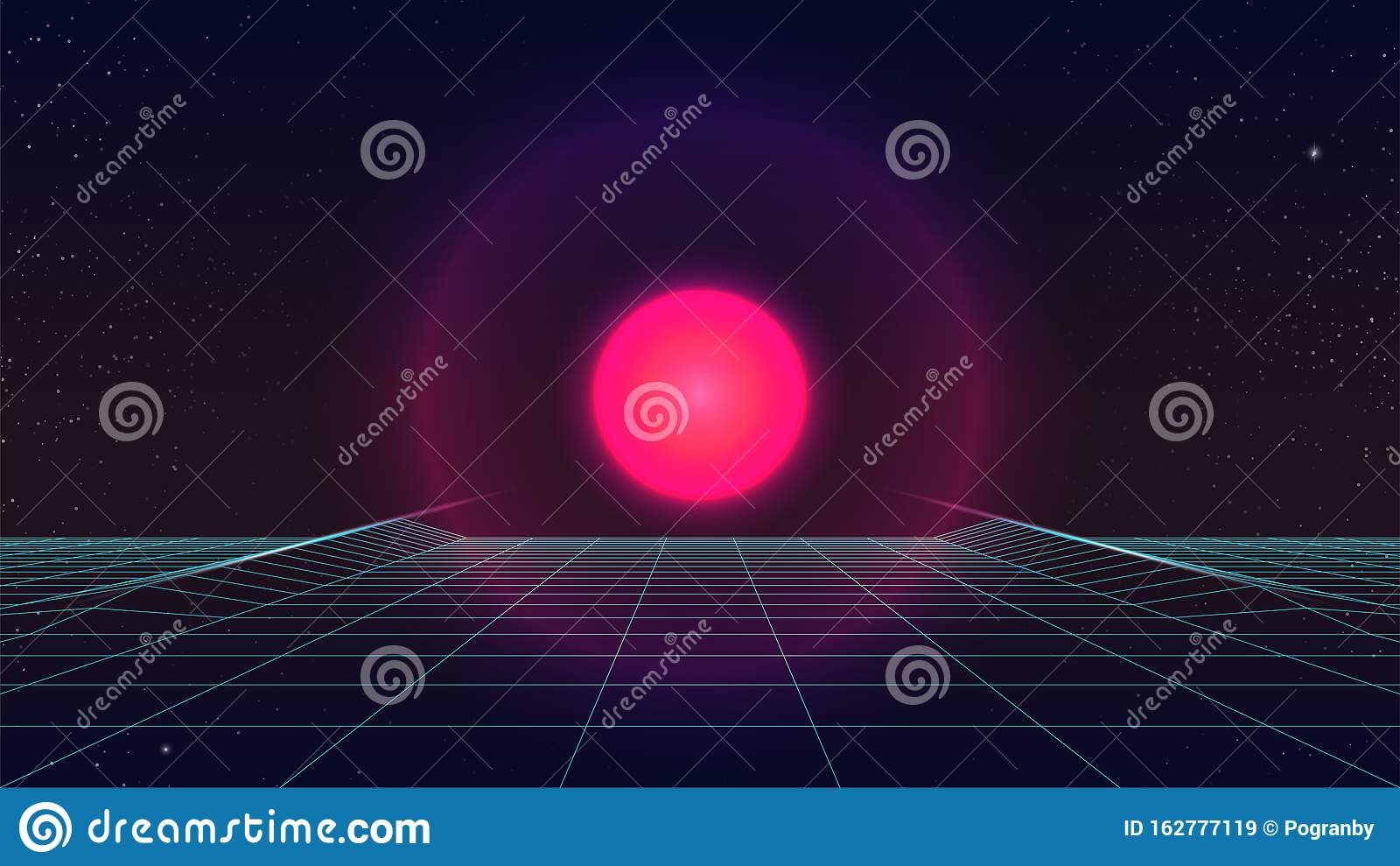 synthwave sunset background futuristic pink sun starry sky blue perspective grid neon glowing sci fi movie look s retro 162777119