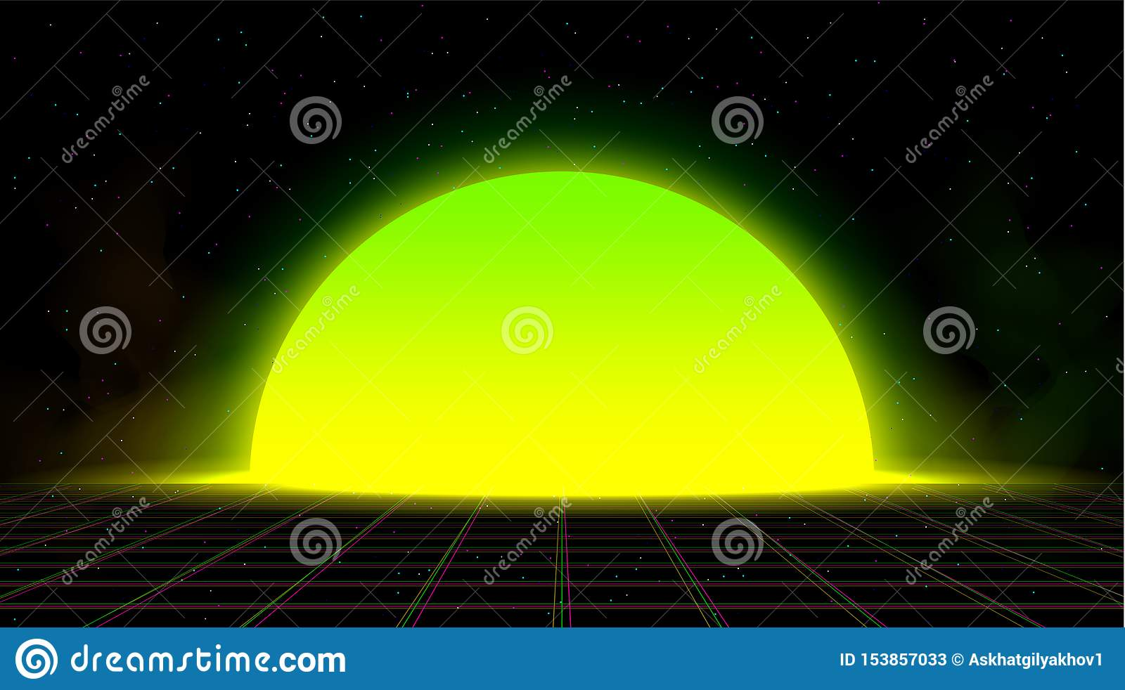 synthwave vaporwave retrowave yellow green sunset background glitch laser grid starry sky smoke design poster cover 153857033