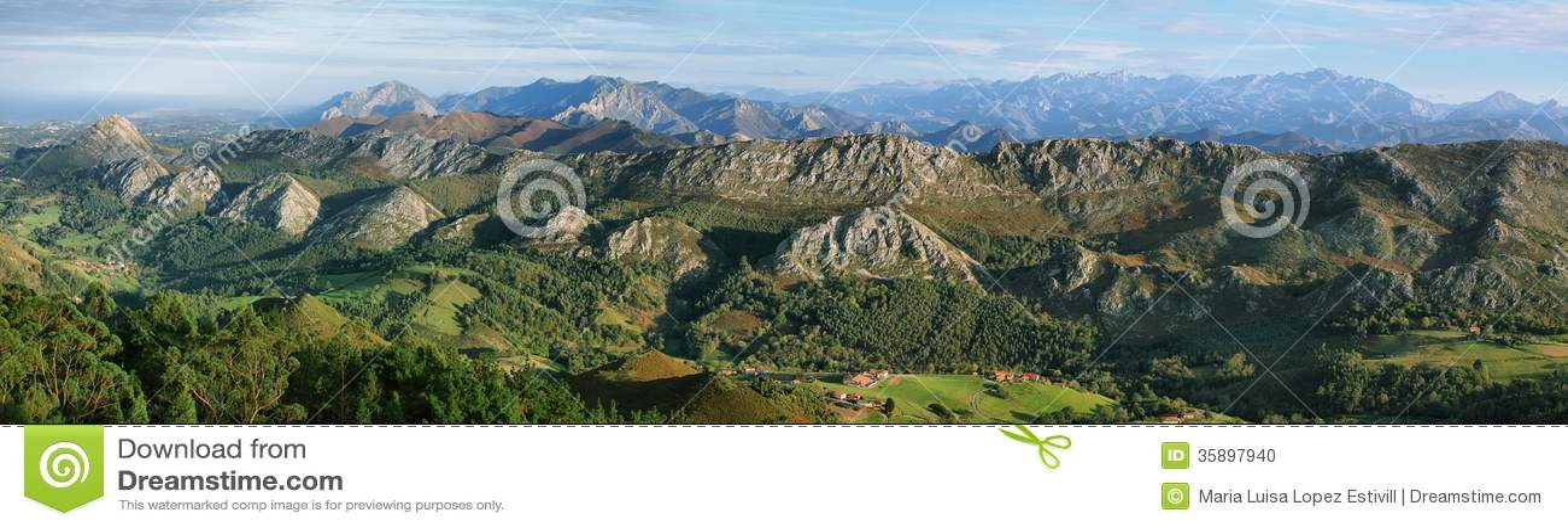 Synvinkel av Fito, sikt av Picosen de Europa