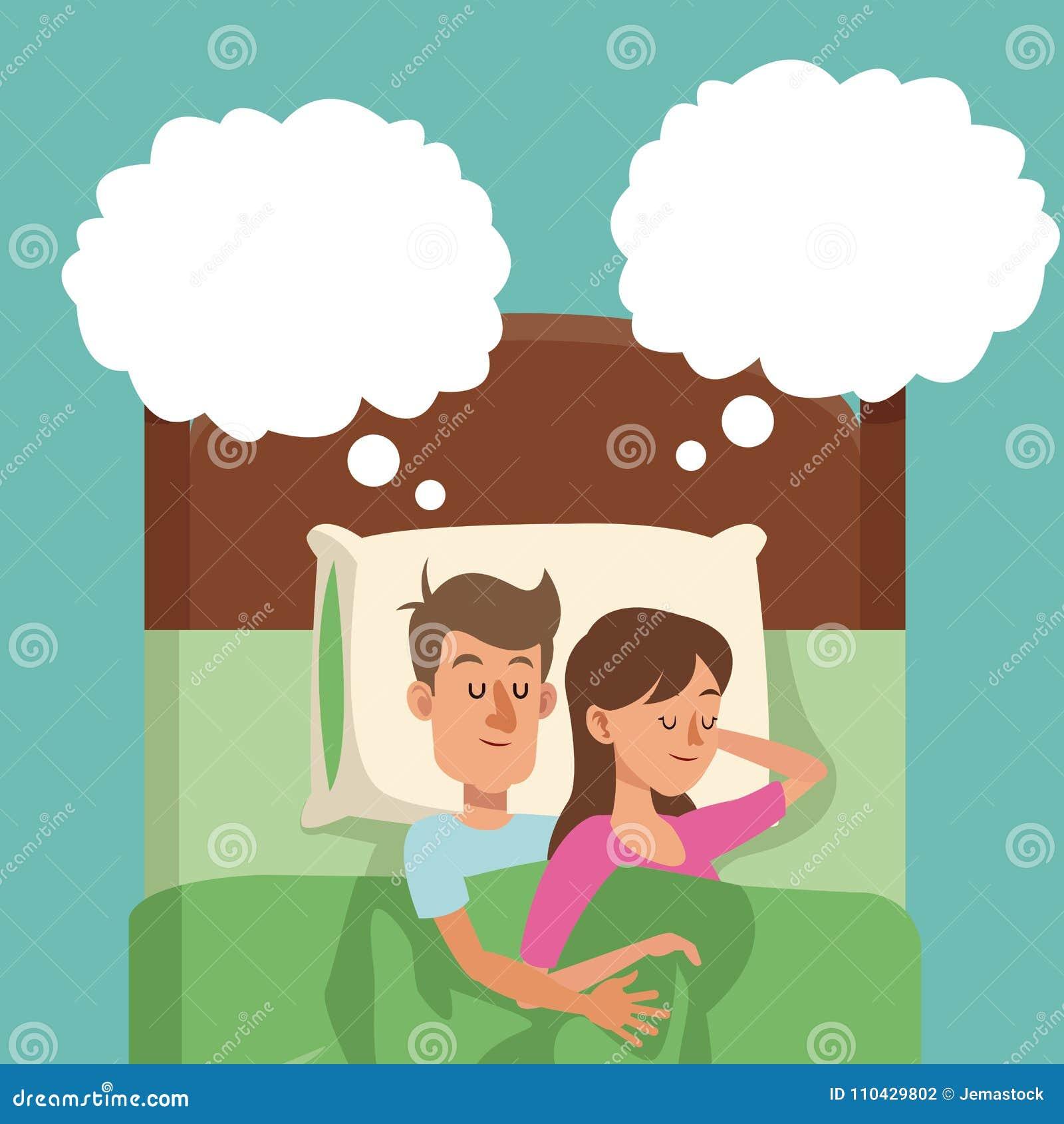 Sypialna para w łóżkowym mężczyzna uściśnięć kobiety sen
