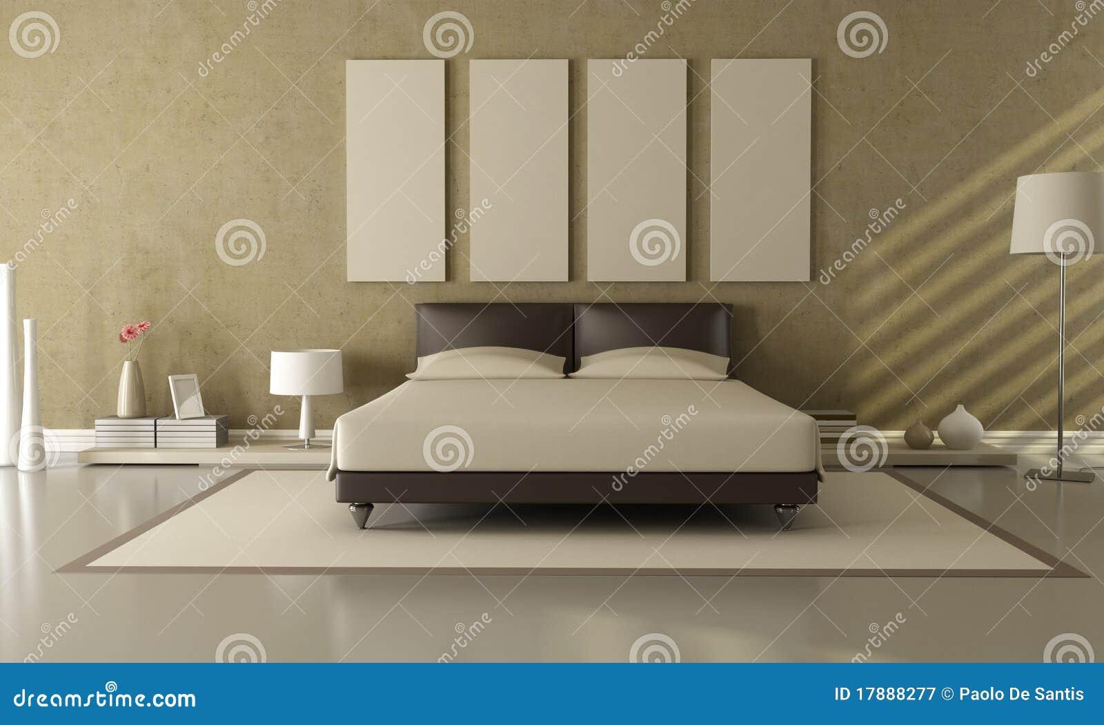 Sypialni Beżu Brąz Ilustracji Ilustracja Złożonej Z Rama