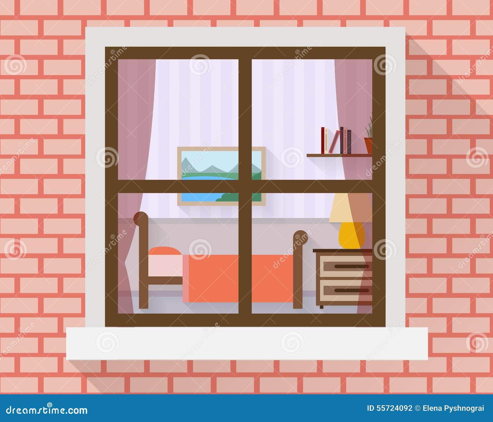 Sypialnia przez okno