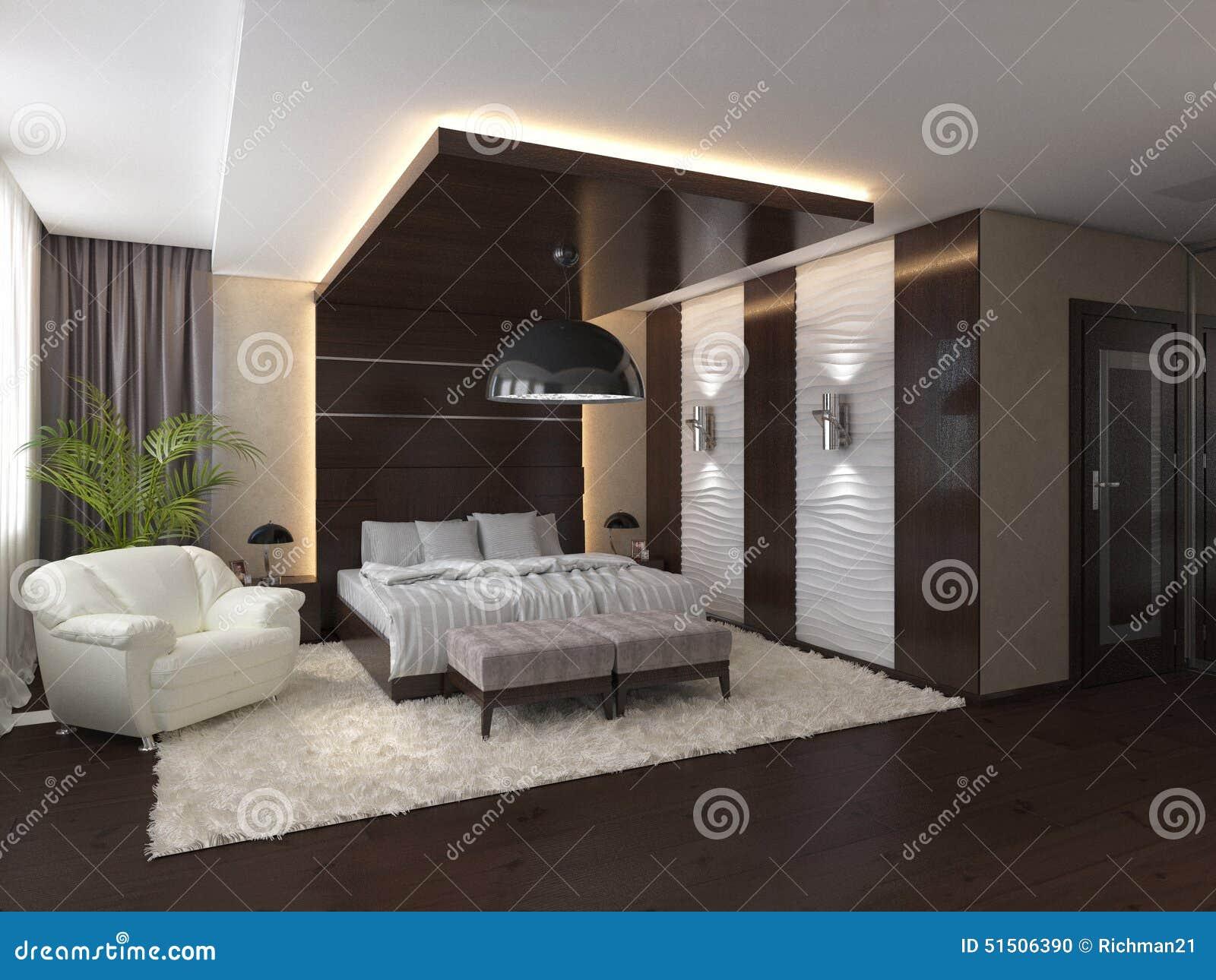 Sypialnia W Intymnym Domu W Brązu I Beżu Kolorach Ilustracji