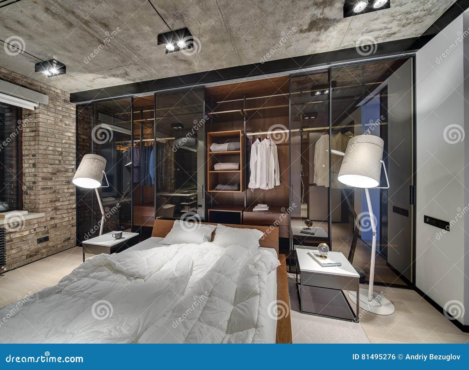 Sypialnia W Loft Stylu Zdjęcie Stock Obraz Złożonej Z