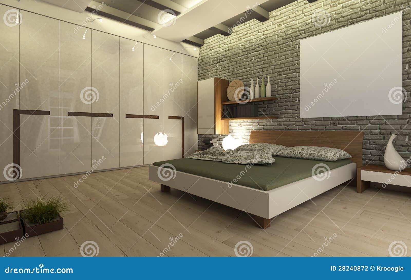 Sypialnia z ciana z cegie fotografia stock obraz 28240872 - Camere da letto lilla ...