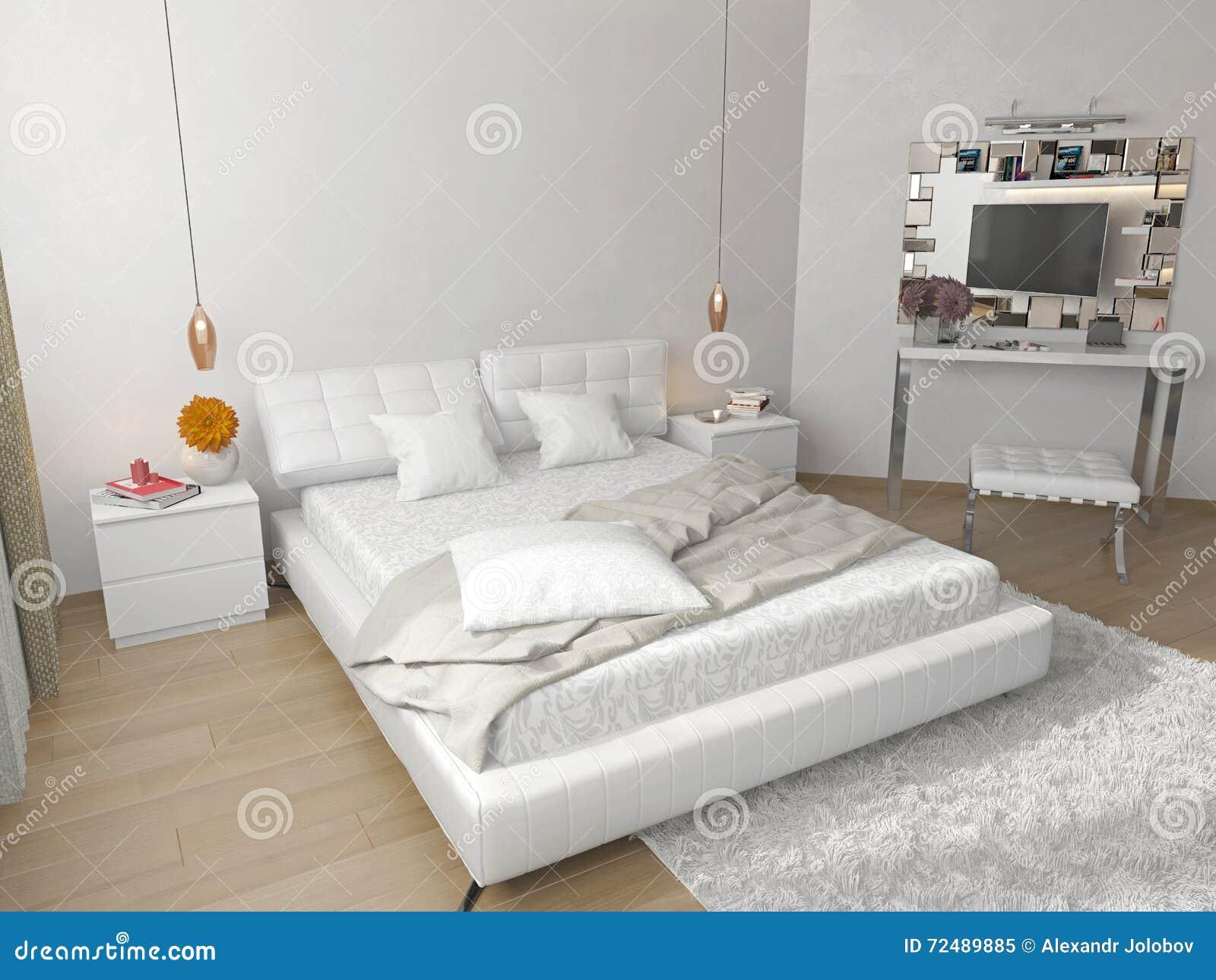 Sypialnia Z Białym łóżkiem Obraz Stock Obraz Złożonej Z