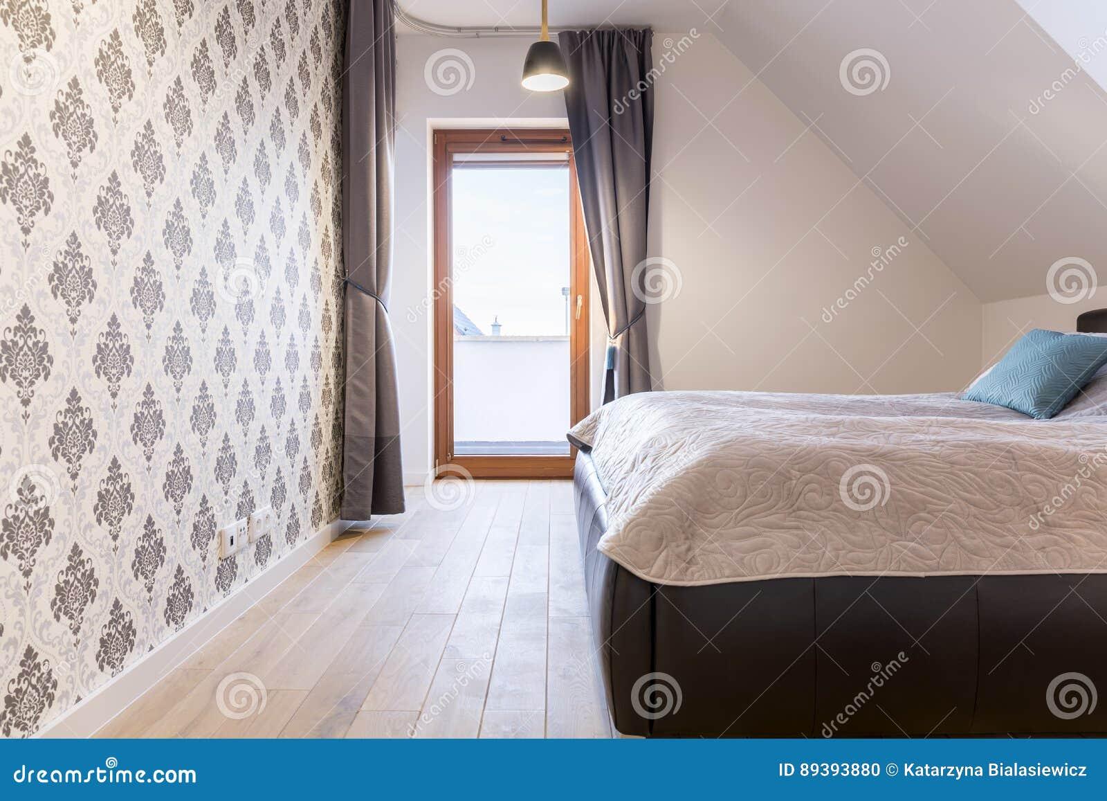 Sypialnia Z Tarasem Zdjęcie Stock Obraz Złożonej Z Wnętrze