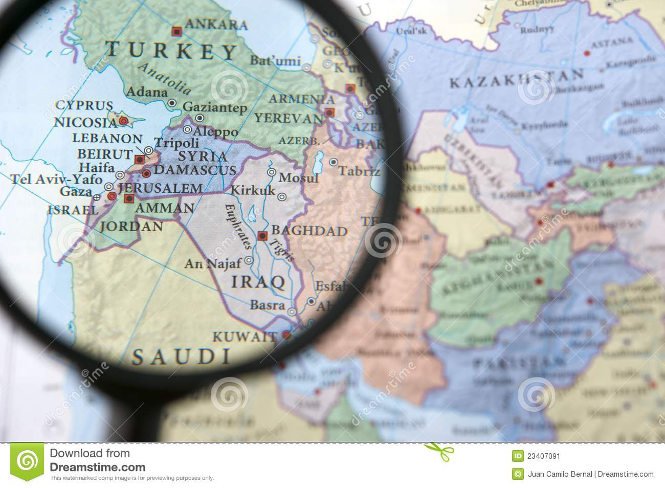 Syria and Iraq on a map stock image. Image of middle - 23407091
