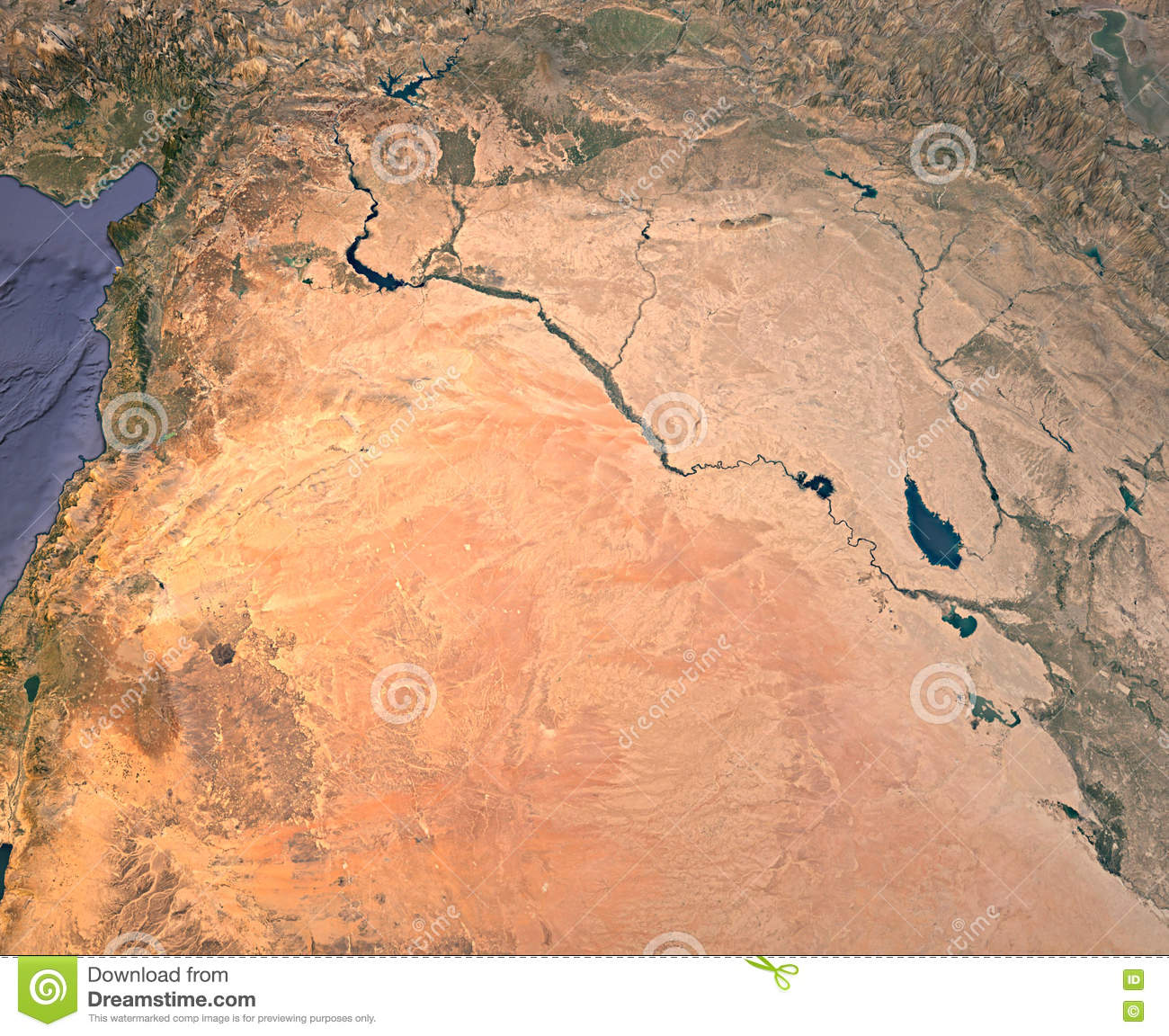 Syria An Iraq Satellite View Map 3d Rendering Land Middle