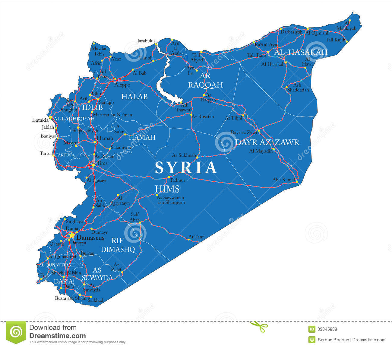 ... map of Syria with administrative regions, main cities and roads