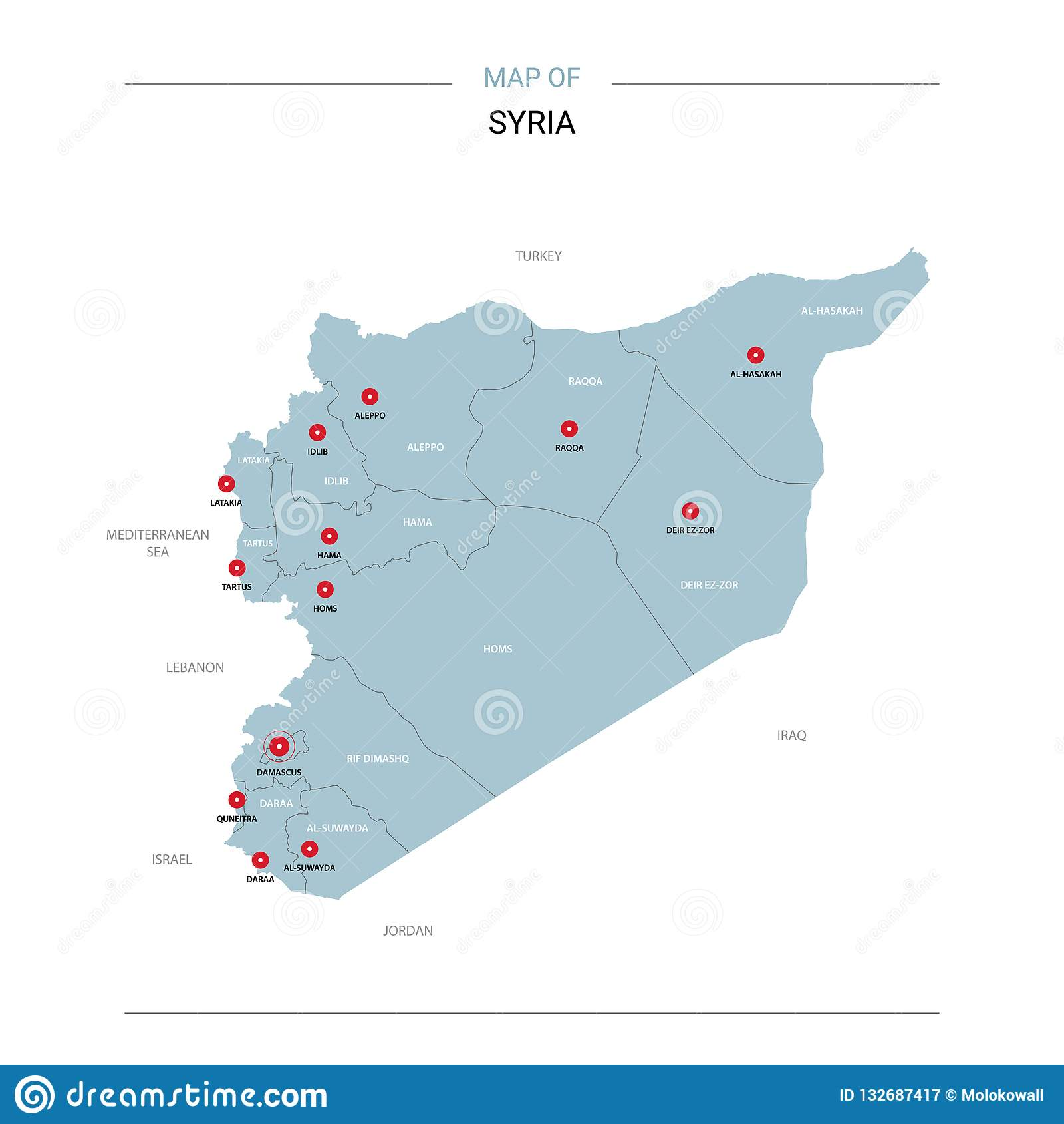 Syria Map Vector With Red Pin