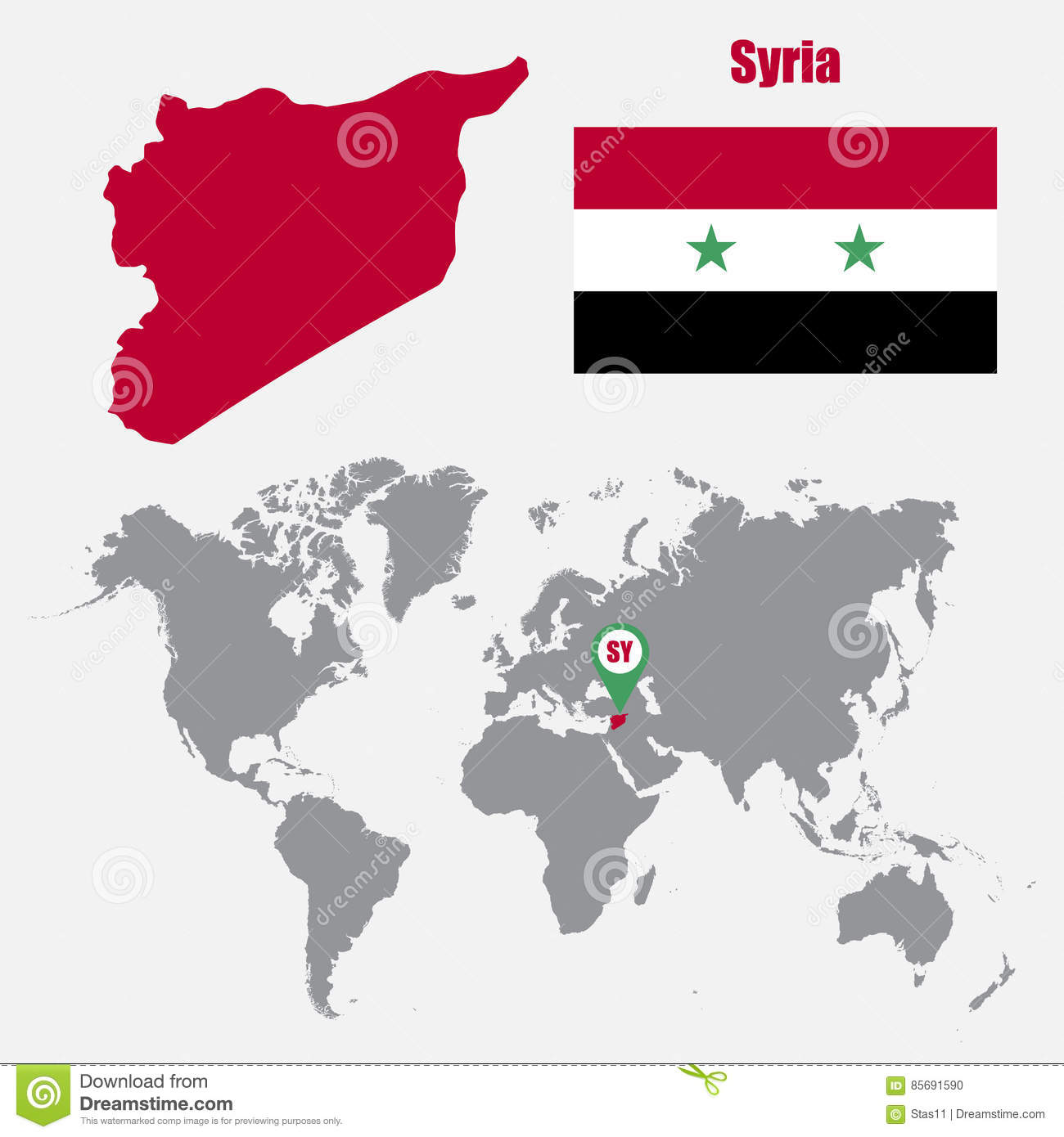 Syria Map On A World Map With Flag And Map Pointer. Vector ...