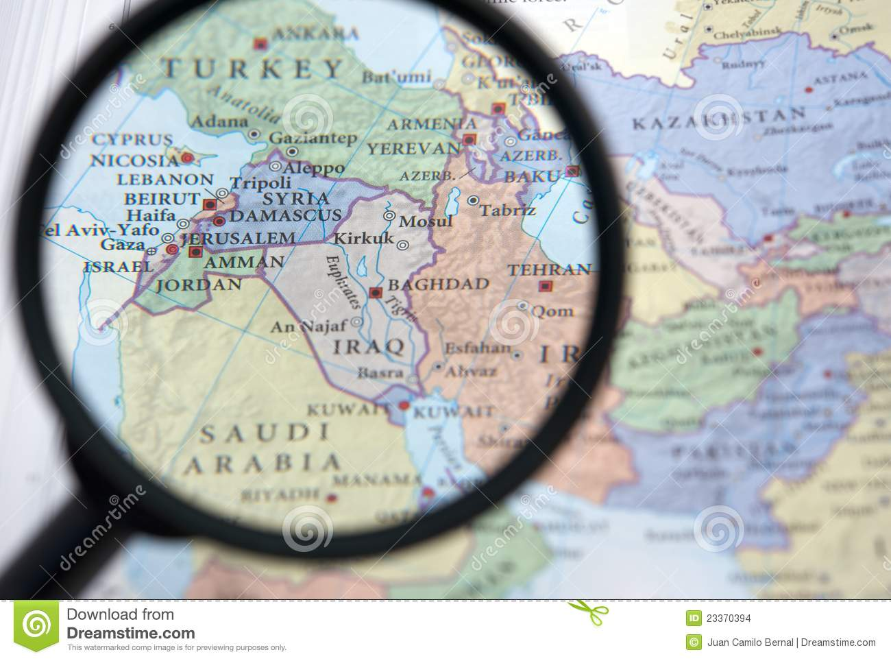 Syria And The Middle East On A Map Stock Photo - Image of israel ...