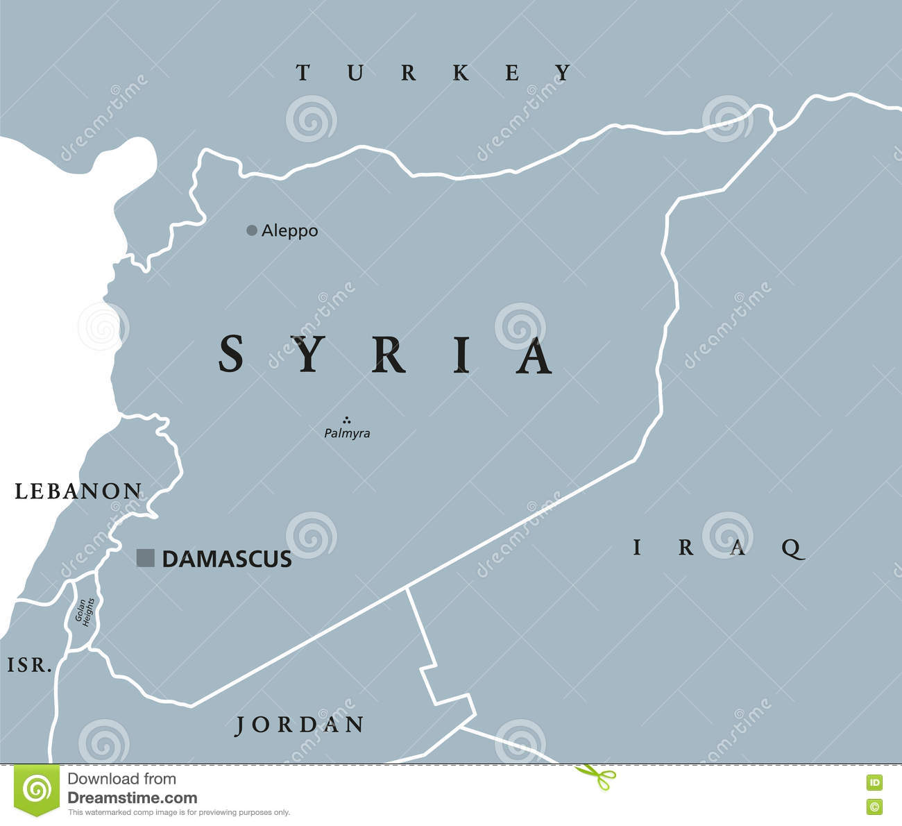 Syria Political Map Stock Vector Illustration Of Labeling 82228944