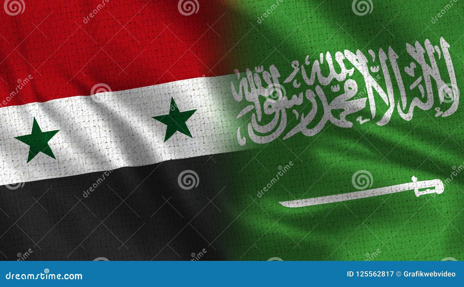 Syria And Saudi Arabia Two Half Flags Together Stock Image Image